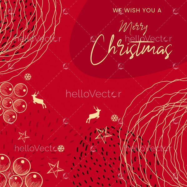 Red Modern minimalist Christmas card