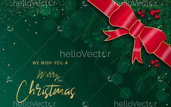 Green Merry Christmas greeting card