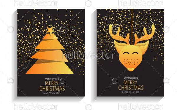 Merry christmas and happy new year greeting card with golden sparkles
