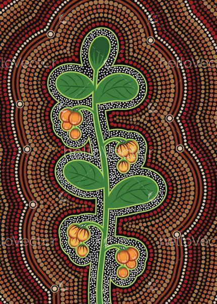 Aboriginal bush plant dot art