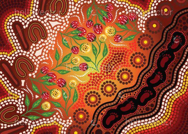 Aboriginal dot art with bush flowers