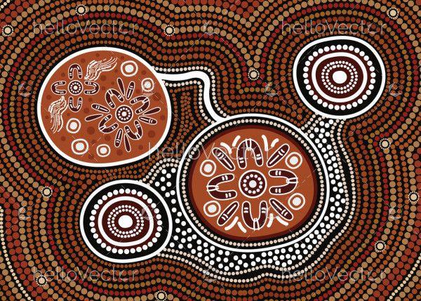 Dot art aboriginal background
