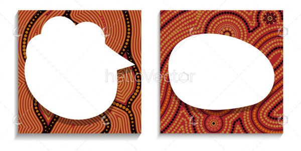 Blank social media post template in aboriginal style