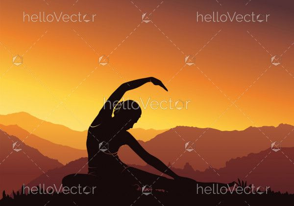 Yoga background. Silhouette of woman doing yoga on mountain - vector illustration