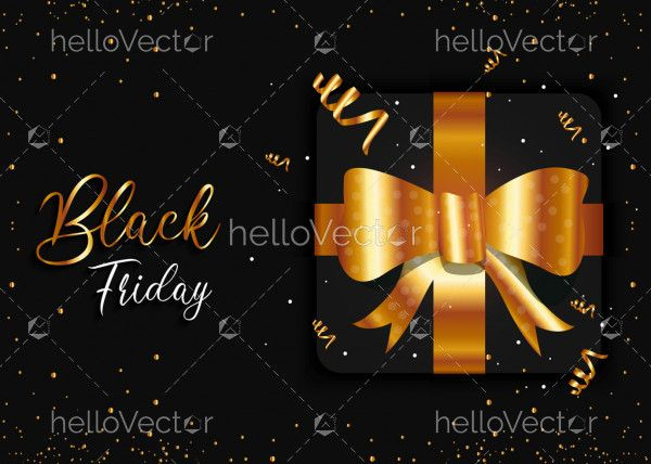 Black friday gift sale banner with golden particles