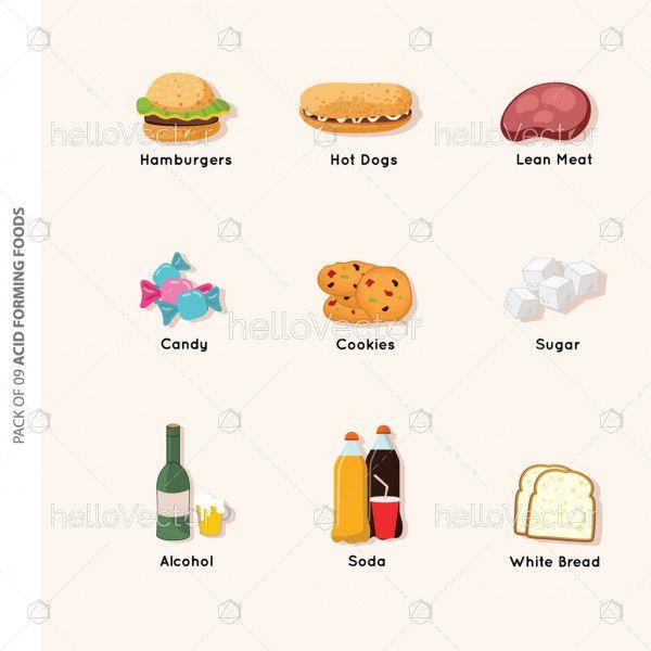 Acid forming food icons set