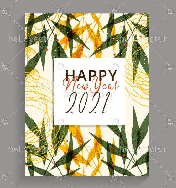 New year 2021 floral poster design