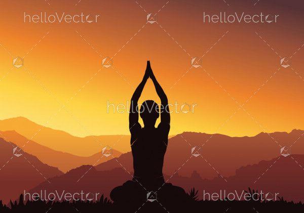 Silhouette yoga background - vector illustration
