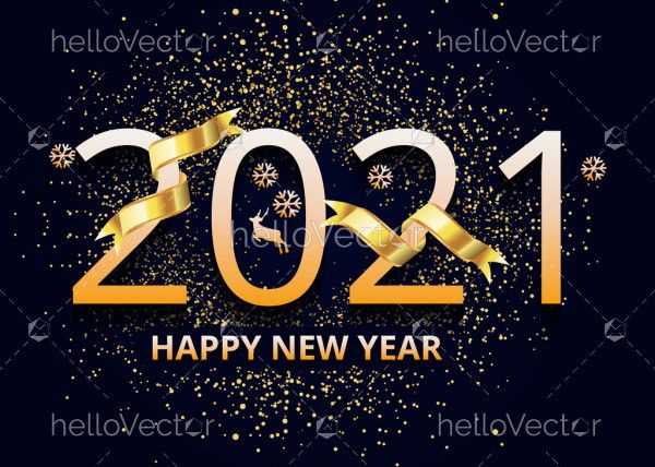 Happy new 2021 year! Elegant gold text with golden sparkles