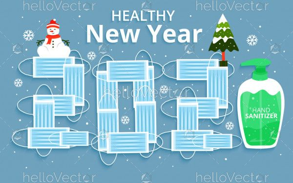 Happy new year 2021 with medical mask