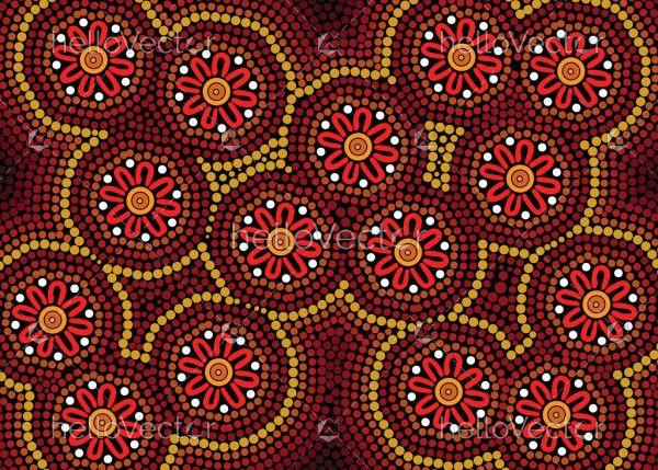 Aboriginal dot art background for textile