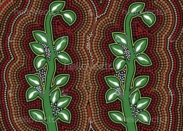 Bush plant aboriginal dot art background