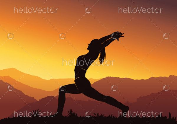 Yoga background. Silhouette of young woman practicing yoga on mountain - vector illustration