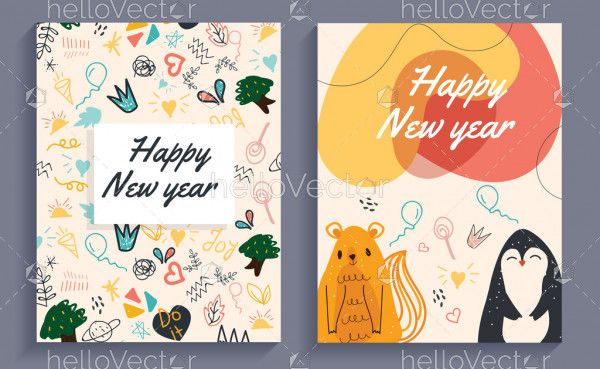 Happy new year doodle greeting card