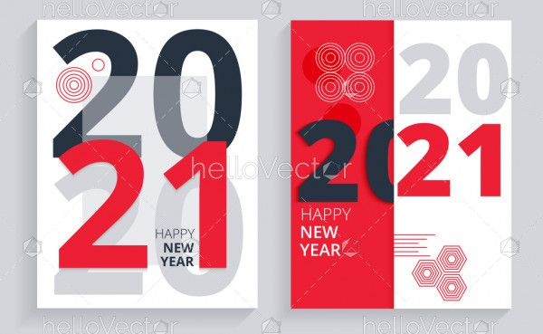 Abstract red 2021 banner