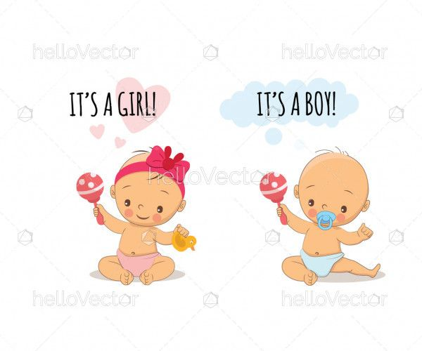 Baby shower greeting card with babies boy and girl