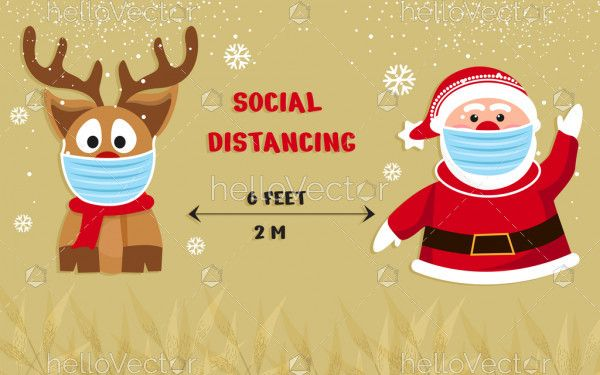 Social distancing Christmas background with Santa Claus and Reindeer