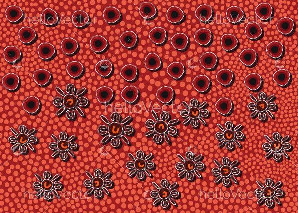 Red aboriginal art background