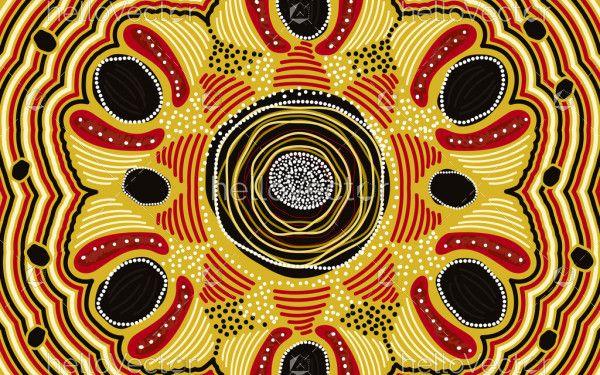 Yellow aboriginal art painting