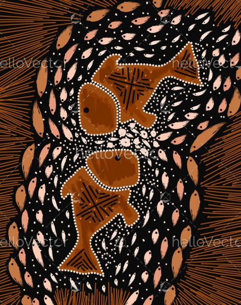 Fish painting in aboriginal style