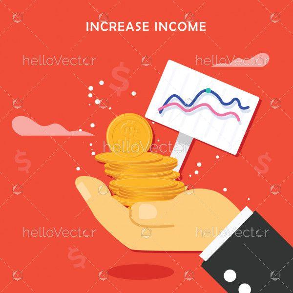 Increase income vector graphic
