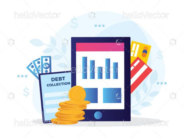 Collection of taxes or debts illustration