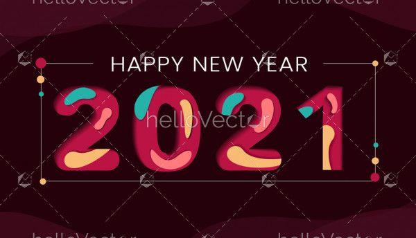 Happy new year 2021 typography background