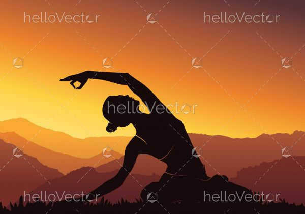 Yoga background. Young woman practicing yoga on mountain, silhouette - vector illustration