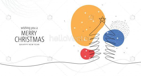 Minimal line Christmas tree background