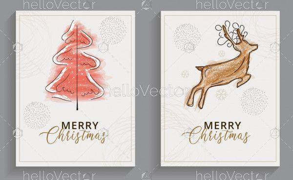 Modern minimalist Christmas greeting cards