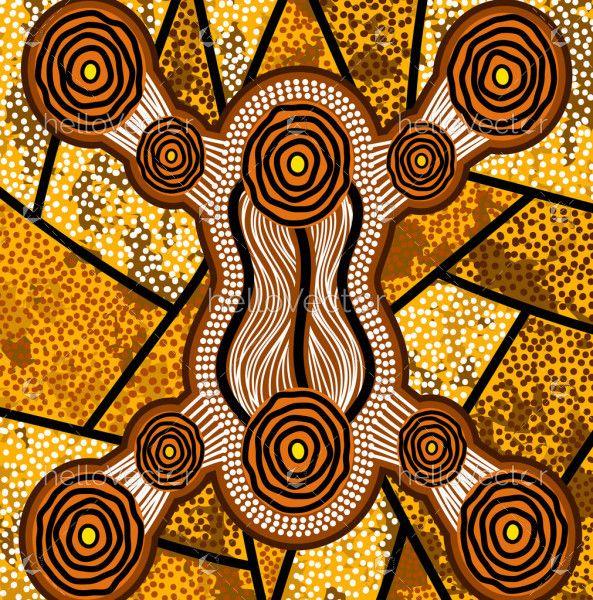 Yellow Aboriginal Dot Painting