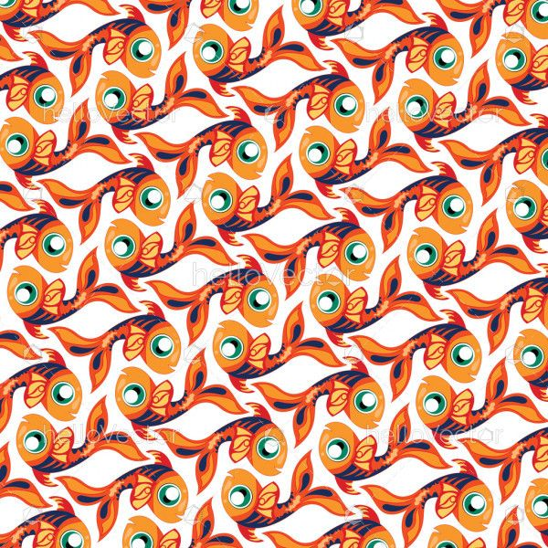 Fish background vector. Seamless pattern of fish on white background.