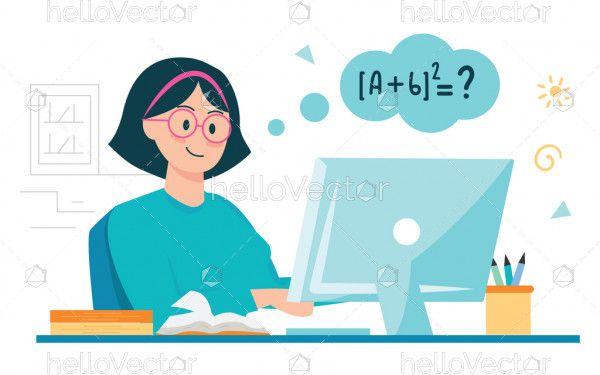 Girl taking online lessons