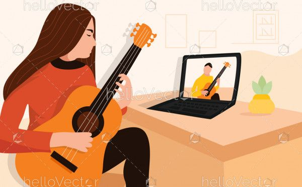 Woman guitar player doing online course