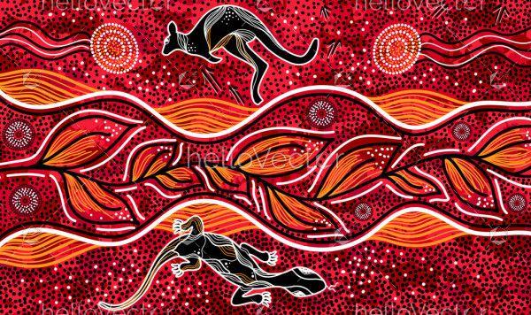 kangaroo and lizard aboriginal art
