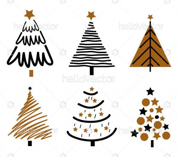 Flat Design Christmas Tree Set