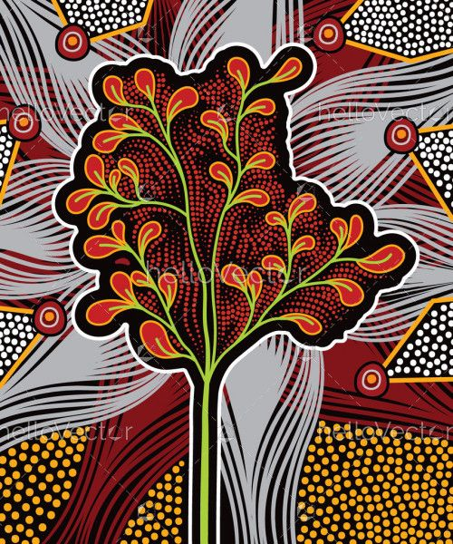 Aboriginal art background with tree