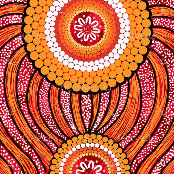 Yellow aboriginal dot art background