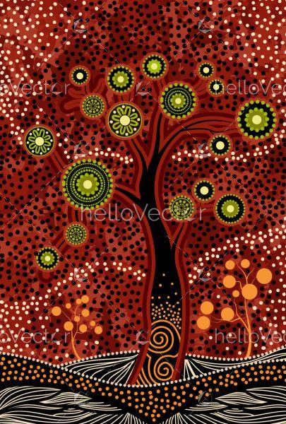 Aboriginal style tree painting