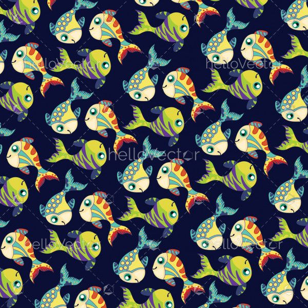 Fish background vector. Seamless pattern of fish on dark background.