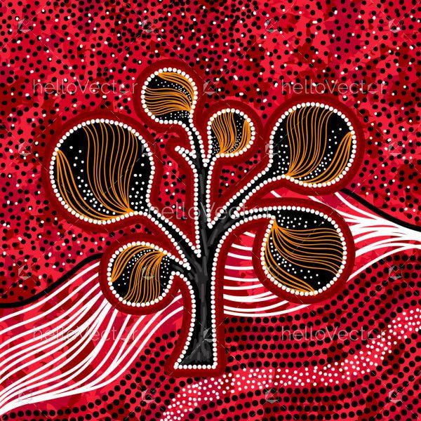 Aboriginal tree on the hill art