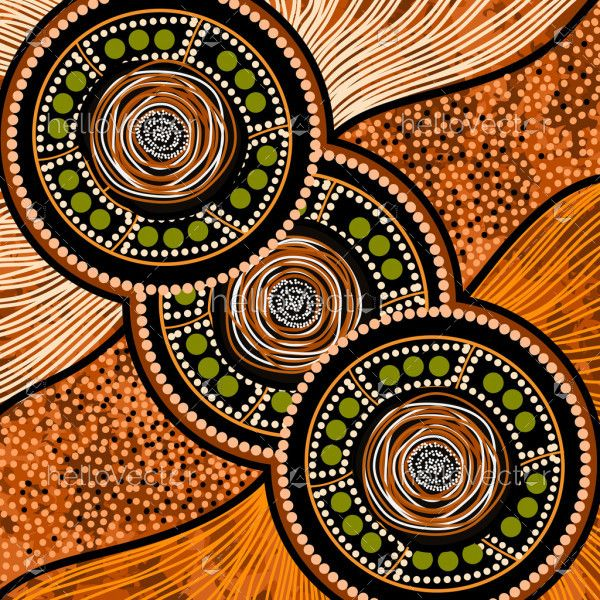 Aboriginal art with dotted circle