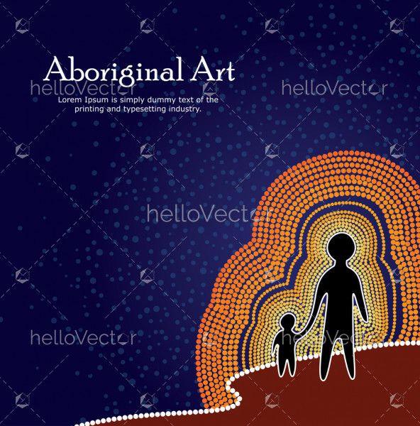 Aboriginal art. Vector Banner with text.