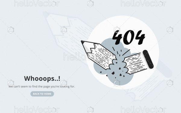 404 Error Page With Broken Pencil
