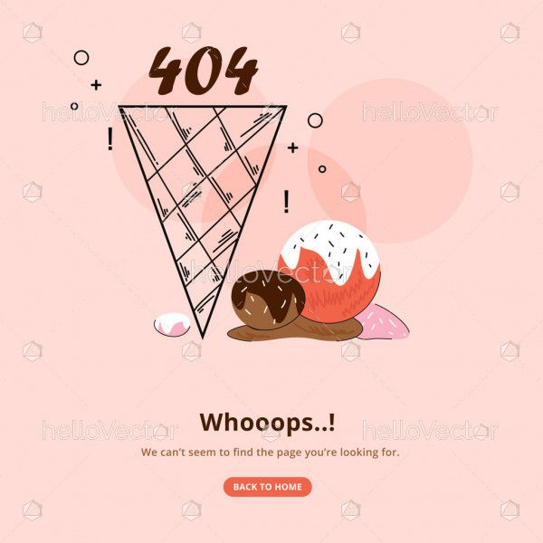 404 error template with melting ice cream