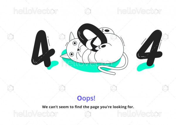 Error 404 Page With Sleeping Cat