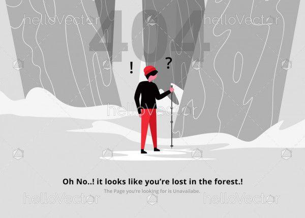 Error 404 web page design with lost boy