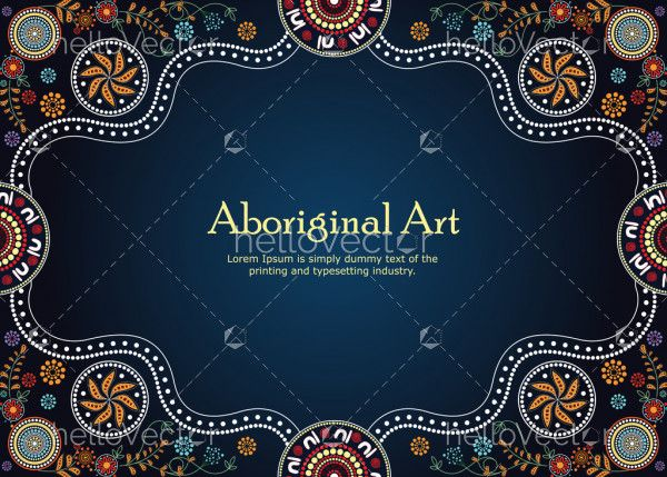 Aboriginal art vector Banner with text. Illustration based on aboriginal style of dot painting.