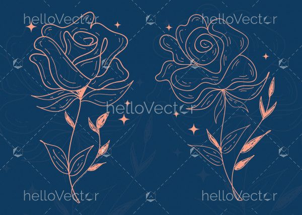Rose flower with contour lines and strokes