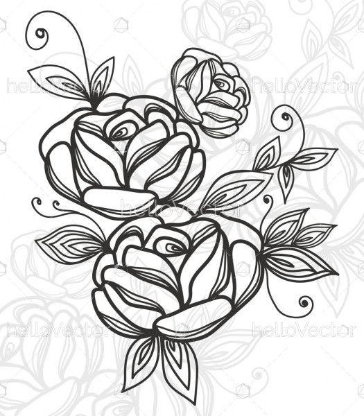 Rose flower motif sketch illustration